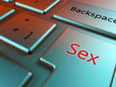 Stylish keyboard close up view with red sex key — Stock Photo