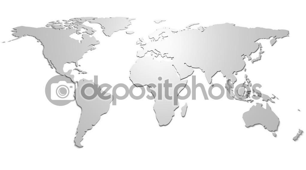 从世界地图上救济与阴影,白色背景– 图库图片