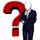 Question Mark - White Background With Clipping Mask — Stock Photo