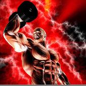 мускулистые позе 1 с обтравочный контур — Стоковое фото