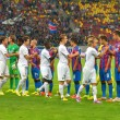 BUCHAREST-JULY,23:Ceremony of the beginning of a football match between Steaua Bucharest and Stromsgodset IF Norway, during the UEFA Champions League 2nd qualifying round. Steaua won 2-0, July 23,2014 — Stock Photo #50114089