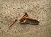 Fondo con una antigua cadena oxidada en arena. — Foto de Stock