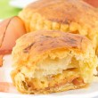 Puff pastry stuffed with bacon and smoked cheese — Stock Photo