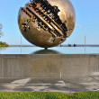 Pesaro and the Great Ball of A  Pomodoro  sculptor   — Stock Photo