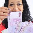 Beautiful woman with money - Stock Photo