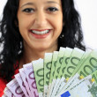 Beautiful woman with money — Foto Stock