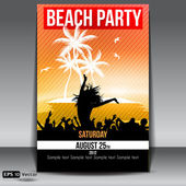 Summer Island Sunset Beach Party Flyer with Dancing Young — Stock Vector
