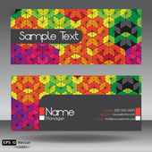 Front and Back Hexagon Kaleidoscope Modern Corporate Business Card Set — Stock Vector