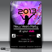 New Year Party 2013 Vector Flyer Template — Stock Vector
