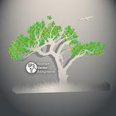 Träd vektor illustration med gröna blad och gräs — Stockvektor