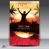 Summer Beach Sunset Party Flyer — Stock Vector