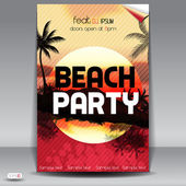 Sunset Beach Sommer Party Flyer design — Stockvektor