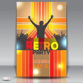 Retro disco party. Abstract flyer design template — Vecteur