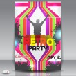 Retro disco party. Abstract flyer design template — Vettoriali Stock