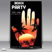Beach Party. flyer design template — Stock Vector
