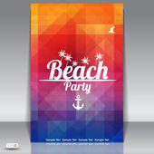 Summer Beach Party Flyer Design — Stock Vector