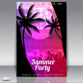 Letní beach party flyer s tancem young — Stock vektor