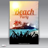 Nacht zomer strand partij folder met jonge dansen — Stockvector