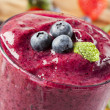 Fresh Organic Blueberry Smoothie - Stock Photo