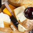 Stock Photo: Red Wine And Cheese Plate