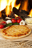 Classic Homemade Italian Cheese Pizza — Stock Photo