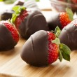 Stock Photo: Gourmet Chocolate Covered Strawberries