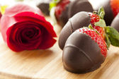 Gourmet Chocolate Covered Strawberries — Stock Photo