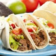 Fresh Homemade Shredded Beef Tacos - Stock Photo