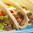 Fresh Homemade Shredded Beef Tacos - Stok fotoğraf