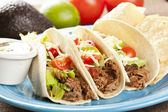 Fresh Homemade Shredded Beef Tacos — Stock Photo