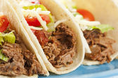 Fresh Homemade Shredded Beef Tacos — Foto de Stock