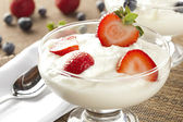 Fresh Organic Greek Yogurt with strawberries — Stock Photo