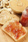 Homemade Peanut Butter and Jelly Sandwich — Stock Photo