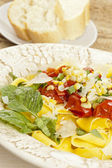 Pappardelle Pasta with corn and tomatoes — Stock Photo