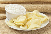 Fresh Potato Chips with Ranch Dip — Stock Photo
