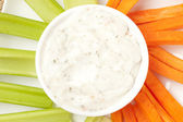 Ranch dressing with carrots and celery — Foto de Stock