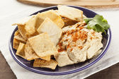 Homemade Crunchy Pita Chips with Hummus — Stock Photo