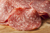 Fresh Cut Organic Salami — Stock Photo