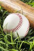 New White Baseball in green grass — Stock Photo