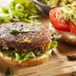Stock Photo: Homemade Organic VegetariMushroom Burger