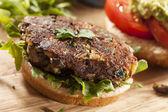 Homemade Organic Vegetarian Mushroom Burger — Stock Photo