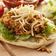 Homemade Mexican Flatbread Taco with meat - Stock Photo