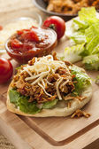Homemade Mexican Flatbread Taco with meat — Stock Photo