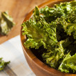 Homemade Organic Green Kale Chips — Stock Photo