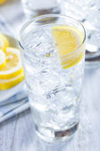 Refreshing Ice Cold Water with Lemon — Stock Photo