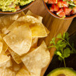 Homemade Organic Guacamole and Tortilla Chips — Stock Photo