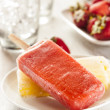 Cold Organic Frozen Strawberry Fruit Popsicle — Stock Photo