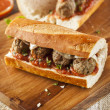 Hot and Homemade Spicy Meatball Sub Sandwich — Stock Photo