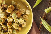 Organic Homemade Fried Green Okra — Stock Photo