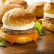 Stock Photo: Homemade Egg Sandwich with Sausage and Cheese